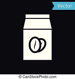 White Coffee beans in bag icon isolated on black background. Vector Illustration