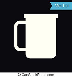 White Coffee cup flat icon isolated on black background. Tea cup. Hot drink coffee. Vector Illustration