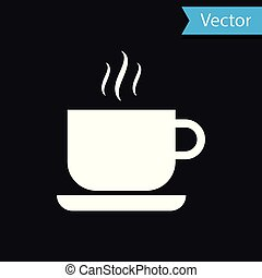 White Coffee cup icon isolated on black background. Tea cup. Hot drink coffee. Vector Illustration