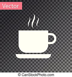 White Coffee cup icon isolated on transparent background. Tea cup. Hot drink coffee. Vector Illustration