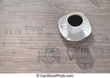 white coffee cup, morning side light background old port oak close-up