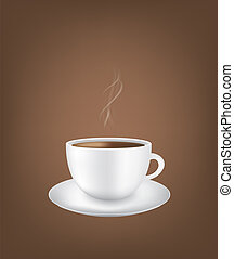 White coffee cup with smoke on dark background