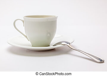 White coffee cup with spoon