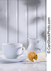 white coffee items on table