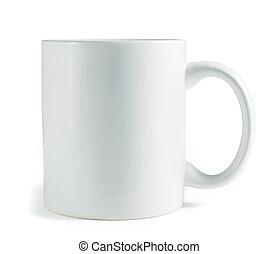 white coffee mug isolated on a white background