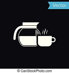 White Coffee pot with cup icon isolated on black background. Vector Illustration