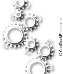 White cog wheels - Abstract design of white cutout cog...