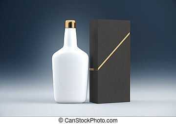 White cognac bottle and packaging without lables. Mock up,...