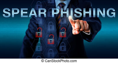 White Collar Attacker Pressing SPEAR PHISHING - White collar...