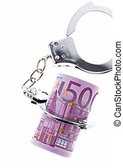 white-collar crime. handcuffs and €