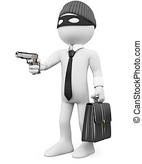 White-collar criminal with a gun. Rendered at high...