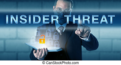 White Collar Employee Pressing INSIDER THREAT - White collar...