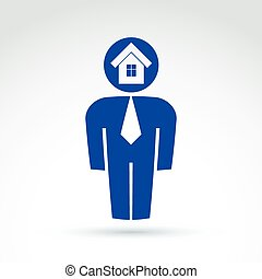 White collar office worker man icon with house real estate icon, conceptual vector symbol.