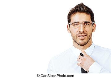 white collar - Portrait of a confident smiling businessman...