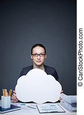White collar worker - Image of pretty businesswoman in...