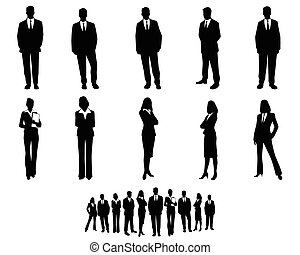 White collar workers set - Vector illustration of a white ...
