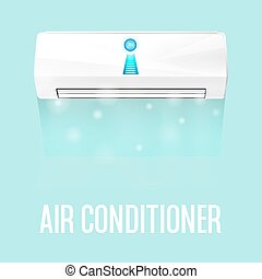 White color air conditioner machine isolated on blue...