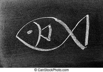 White color chalk drawing in fish shape on blackboard background