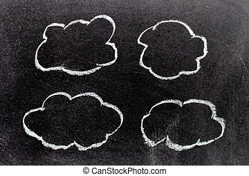 White color chalk hand drawing in cloud shape on blackboard background