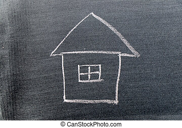 White color chalk hand drawing in home shape on black board background