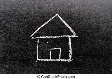 White color chalk hand drawing in home shape on blackboard background