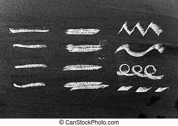 White color chalk hand drawing in set of line shape on black board background