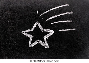 White color chalk hand drawing in star fall shape on blackboard background