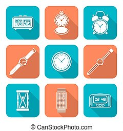 white color flat style various watches clocks icons set