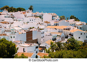White color houses in Nerja, Malaga Province, Andalusia, Spain.