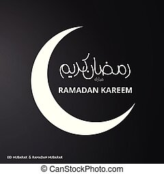 White Color Ramadan Kareem Creative typography with Moon on a Black Background