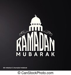 White Color Ramadan Mubarak Creative typography having Masjid on a Black Background