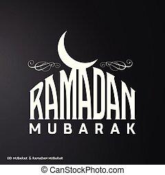 White Color Ramadan Mubarak Creative typography having Moon on a Black Background