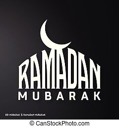 White Color Ramadan Mubarak Creative typography with a Moon on a Black Background