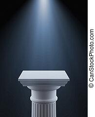 White column with light