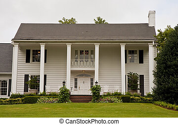 White Columned Two Story House