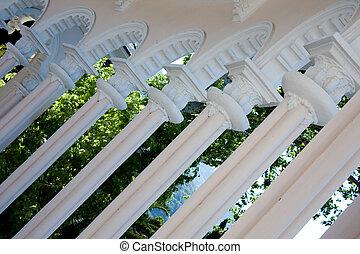 white columns building