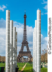 White colums over Eiffel tower in Paris