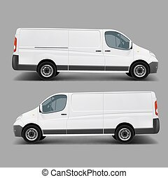 Blank white cargo minibus realistic vector template right, left side view. Commercial transport for small and middle business, delivery van, postal service car ready for brand, corporate mockup design
