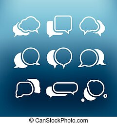White communication cloud icons clip-art on color background