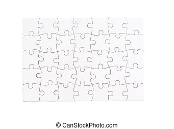 white completed puzzle isolated on a white background