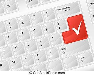 computer keyboard check symbol - White computer keyboard...