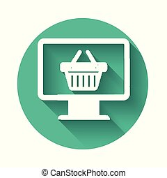 White Computer monitor with shopping basket icon isolated with long shadow. Online Shopping cart. Supermarket basket symbol. Green circle button. Vector Illustration