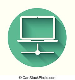 White Computer network icon isolated with long shadow. Laptop network. Internet connection. Green circle button. Vector Illustration