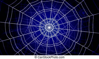 white concentric cobwebs jump sharply and stick on a blue...