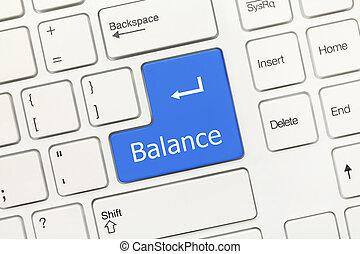 White conceptual keyboard - Balance (blue key) - Close-up...