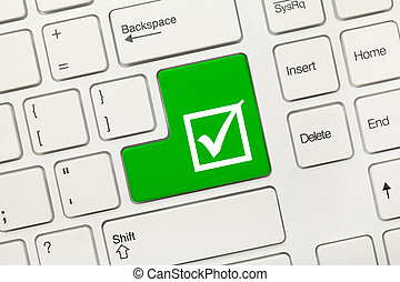 White conceptual keyboard - Checkbox with tick (green key) -...