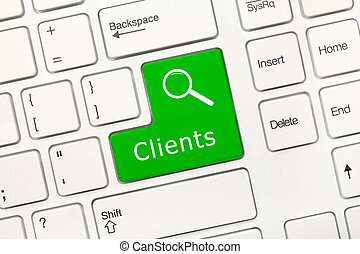 White conceptual keyboard - Clients (green key) - Close-up...
