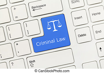 White conceptual keyboard - Criminal Law (blue key with scales symbol)