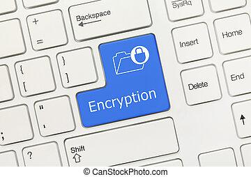 White conceptual keyboard - Encryption (blue key) - Close-up...