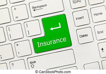 White conceptual keyboard - Insurance (green key)